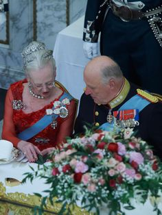 Dronning Margrethe 75 år. Queen Margrethe of Denmark and King Harald of Norway at the dinner the night before the Queen's 75th birthday.