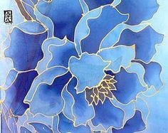 Hand Painted Silk Shawl Silk Scarf Blue Floral Silk Scarf