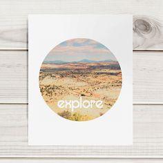 "Motivational 8""x10"" Print - Explore - circular format tribal style bohemian minimalist mountains sky blue inspirational"