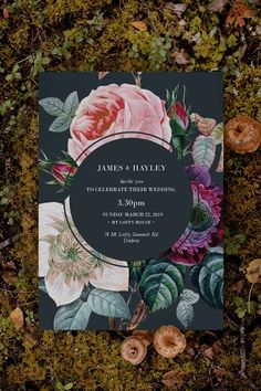 Stunning moody rose Wedding Invitation by Sail and Swan Studio. The design features a black background and dark moody colours with stunning purple flowers, a pink rose, and cream florals. Woodland Theme Wedding, Woodland Wedding Inspiration, Vintage Wedding Theme, Black Wedding Invitations, Wedding Decorations, Wedding Ideas, Floral Invitation, Rose Wedding, Purple Flowers