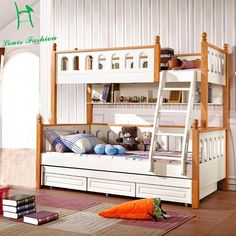 Quality Louis Fashion Children Bunk Bed Real Pine Wood with Ladder Stair Drawers Safe and Strong with free worldwide shipping on AliExpress Mobile Double Deck Bed, Double Bunk Beds, 2 Twin Beds, Cool Bunk Beds, Kids Bunk Beds, Drawer Safe, Stair Drawers, Solid Wood Bunk Beds, Bunk Bed Designs