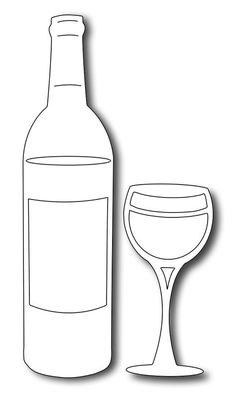 Frantic Stamper - Precision Dies - Wine Bottle and Glass (set of with a toast! This large wine bottle tall) and matching glass feat Wine Glass Drawing, Bottle Drawing, Wine Craft, Wine Bottle Crafts, Wine Bottle Images, String Art Templates, Frantic Stamper, Paint And Sip, Stained Glass Patterns