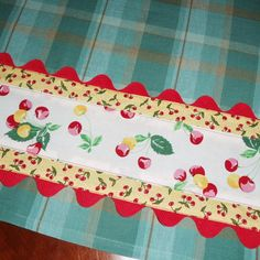 Cherries and Plaid Kitchen Towel by NJPdesigns on Etsy, $14.95