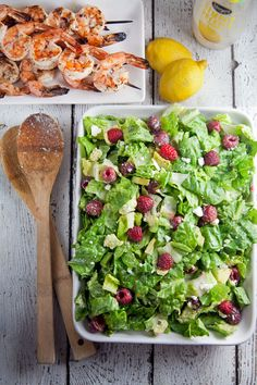 Summer Salad with Grilled Shrimp // @Healthy.com. Delicious.