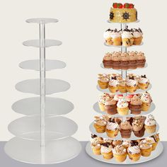 7-Tier Clear Acrylic Round Cupcake Birthday Wedding Cake Stand Display Tower in Home & Garden, Wedding Supplies, Wedding Cake Stands & Plates | eBay
