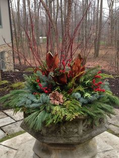 For the steps Christmas Window Boxes, Christmas Urns, Country Christmas Decorations, Xmas Decorations, Christmas Holidays, Holiday Decor, Rustic Christmas, Outdoor Christmas Planters, Evergreen Planters