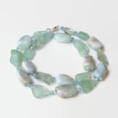 Aqua Blue Teal Semiprecious Stones Necklace  Chunky by ALFAdesigns, $89.99