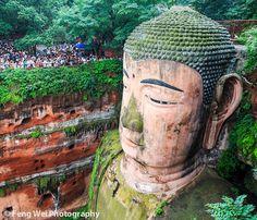 Stunning view of the Leshan Giant Buddha. Sichuan, China.