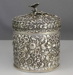 Large Stieff antique silver tea caddy. he base has an applied beaded border. Marked BSC which stands for the Baltimore Sterling Silver Company and bearing the Stieff crown. Circa 1895.