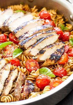 Tomato Basil Pasta with Balsamic Grilled Chicken   A lighter pasta dish full of fresh tomatoes and basil. An easy and flavorful dinner perfect for weeknights!