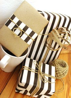 stripes, kraft paper & twine