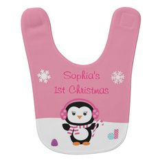 Pink Penguin First Christmas Baby Bib