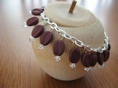 Handmade Charm Bracelet Coffee Bean Bead and Crystal