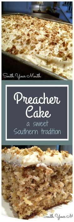 Preacher Cake - Tender, moist cake with crushed pineapple, pecans & coconut with a cream cheese frosting. An old Southern tradition to make this cake when the preacher comes by for a visit. 13 Desserts, Brownie Desserts, Delicious Desserts, Yummy Food, Brownie Frosting, Desserts For A Crowd, Party Desserts, Plated Desserts, Baking Recipes