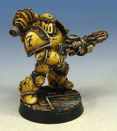 Imperial Fist Space Marine in pre-heresy armor.  Painted by James Wappel.