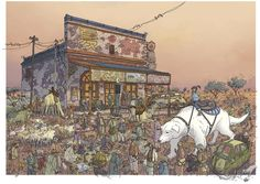 Check out this amazing Legend of Korra artwork by world-renowned comic book artist Geof Darrow (best known for his illustration work on 'Hard Boiled,' 'The Big Guy and Rusty the Boy Robot' and. Comic Book Artists, Comic Books Art, Comic Art, Geof Darrow, Nickelodeon Shows, Legend Of Korra, Aang, The Last Airbender, Cartoon Art