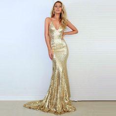 Gold V Neck Sequin Backless Mermaid Prom Dress,