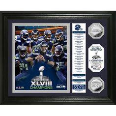 Seattle Seahawks Super Bowl 48 Champions inBannerin Silver Coin Photo Mint