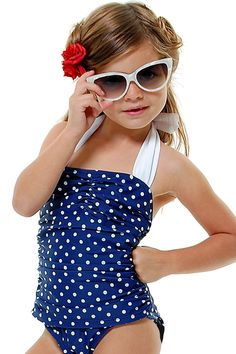 Vintage Inspired 50's Style Navy & White Polka Dot One-Piece Halter Children's Swimsuit - Unique Vintage - Prom dresses, retro dresses, retro swimsuits.
