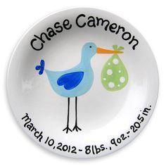 Baby Stork Ceramic Plate - Hand Painted Baby Gift - Stork Baby Shower - Sassy Stork Baby Boy - Personalized Gift for Newborn - New Baby