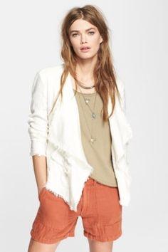 Open Front Linen Blend Jacket