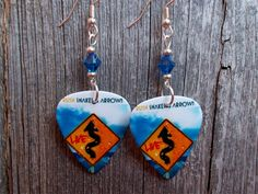 Rush Snakes and Arrows Guitar Pick Earrings with Blue Crystals by ItsYourPick on Etsy