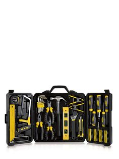Every house needs a handy tool kit to complete any odd jobs or for a spot of DIY and this 70-piece household tool set from Precision has everything you need to complete the job with minimal fuss.The set includes a wide range of tool to help you complete the job with ease, including a plier set, a tape measure, a 5-piece screwdriver set and a spirit level. This Precision Tool Set also includes a saw and an allen key set along with a hammer and two clamps.All of these tools are stored neatly…