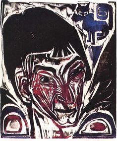 Ernst Ludwig Kirchner , Portrait of Otto Müller, a woodcut