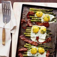 Eggs over roasted asparagus and bacon.