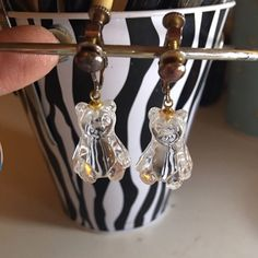 """Hanging Around With Bears vintage Clip-on (screw) earrings. Sitting glass bears. Measures just under 1"""" high. 🚫No trades🚫 Vintage Jewelry Earrings"""