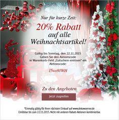 Super-Weihnachten-Aktion! Erhalten Sie 20% auf alle #Weihnachtsartikel! Gültig bis Sonntag, den 22.11.2015! Aktionscode: 15wo91WH #Weihnachtsdeko