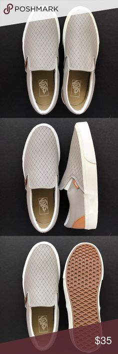 beb50215 ***NEW*** Vans Slip-on Light Gray And Leather ***NEW*** Light gray  perforated leather pattern Vans Slip-on. US Size: Women's Men's 9 Vans  Shoes Sneakers