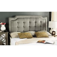 Darby Home Co Findlay Upholstered Panel Headboard Size: Queen, Upholstery: Pewter Tufted Headboard Queen, Linen Headboard, Modern Headboard, Wingback Headboard, Full Headboard, Headboard Ideas, Bedroom Ideas, Tufted Headboards, Country Headboard