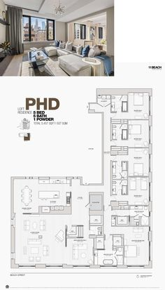 11 BEACH TRIBECA Penthouse D Condo Floor Plans, Luxury Floor Plans, Pool House Plans, House Layout Plans, Apartment Floor Plans, Floor Plan Layout, Craftsman House Plans, Dream House Plans, House Layouts
