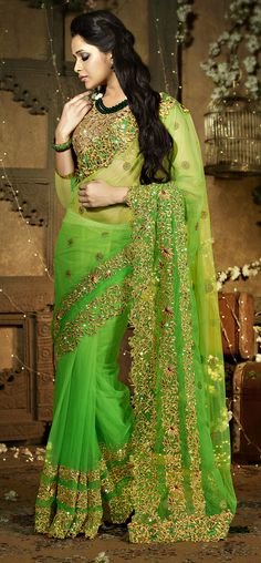 Green Resham Enhanced Net Scallop Border Saree