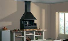 Barbacoa Fornells interior          Barbacoa fabricada en chapa de acero. Equipada con parrillas de acero inoxidable, bandejas recogecenizas, tapacubos y remate techo. Para colocar en bodega, cocina, etc. Precio campana y cajón. También disponible por piezas.