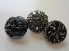 Vintage Buttons   beautiful lot of 3 assorted by pillowtalkswf, $7.95
