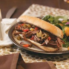 Chicago-Style Beef Sandwiches Recipe- Recipes I'm originally from the Windy City so I love Chicago-style beef. These tender sandwiches lend an authentic flavor, and they're so simple to prepare using a slow cooker. Crock Pot Slow Cooker, Slow Cooker Recipes, Crockpot Recipes, Beef Sandwich, Sandwich Recipes, Sandwich Ideas, Great Recipes, Favorite Recipes, Cooking Tips