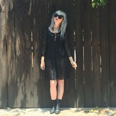 Long sleeve, black lace dress,