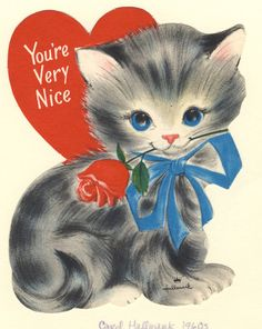 Vintage Valentines, Vintage Holiday, Library Pictures, Picture Collection, Tweety, Cats And Kittens, Holiday Cards, Kitty, Holidays