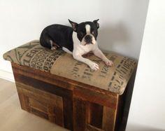 Boston Terrier on a coffee sack table