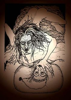 Night-Hags(Night-Mares,Mara, Mera,Crushers,Mare-Demons,Hagges,Haints,Entities,Mallt y Nos,Night-Fiends,Cauchemar)People who suffer from wasting diseases are said to look 'Haggard' or 'Hag-Ridden'.It's said that as they slept,a Night-Hag sat on their chest & sucked away their breath/vitality,making them exhausted & diseased.The term Hag-Riding is when Night-Hags riding horses to the point of collapse deliver bad dreams(Night-Mares).13-4