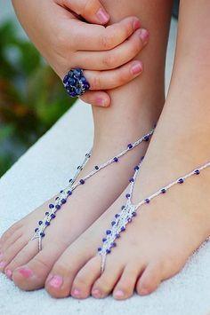 Barefoot Sandals Foot Jewelry Anklet Toe Ring Thongs Beach Destination Wedding Soleless Crochet. $12.00, via Etsy.