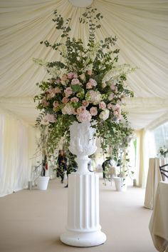 gorgeous floral arrangements with white delphiniums and colorful roses - Google Search