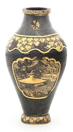 An inlaid-iron ovoid vase By Asai of Kyoto, Meiji era late century Japanese Vase, Meiji Era, Bond Street, Art Uk, Asian Art, Decoration, Kyoto, Ceramic Art, Metal Working