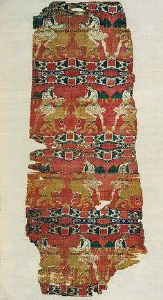 Late 6th–early 7th century, Eastern Mediterranean - The vibrant colors of this elegantly woven silk are indicative of the taste for vivid coloring that pervaded the Byzantine and early Islamic worlds.  Multiple examples of combat between a man and a lion survive and attest to popularity well into the early Islamic era. The image suggests the classical theme of the battle of Heracles and the Nemean Lion or may also represent the biblical battle of Samson with a lion or of the youthful king…