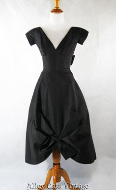 Vintage 1950s 50s Cocktail Dress Black Formal Evening Sz XXS B34 W23 Petite