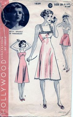 Vintage 1940s Hollywood Betty Grable SLIP   PANTIES Sewing Pattern 1839  Plus Size 20 Bust 38 72f350cdb