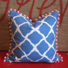 Iman Ikat Aegean Blue & White Trellis Cushion Cover