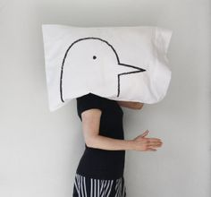 Love Bird Pillow case : 300TC Standard - home decor, bedding, gift for grad, classic black and white via Etsy